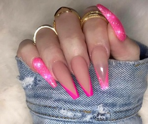 nails, pink, and sparkle image