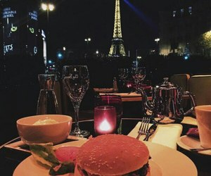 eiffel tower, evening, and food image