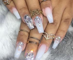 acrylic, diamond, and nails image