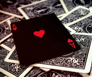 cards, heart, and black image