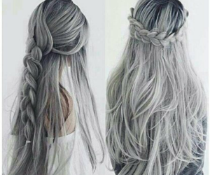 hair, braid, and grey image