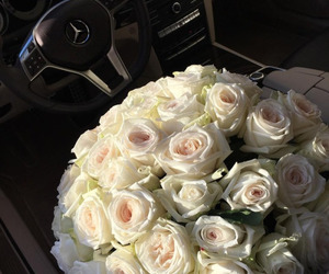 roses, car, and flowers image