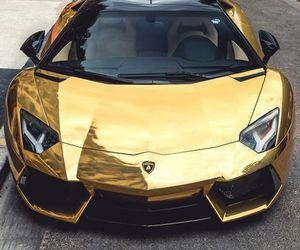 car, gold, and Lamborghini image