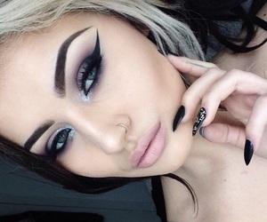 makeup, nails, and haïr image
