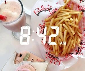 food, fries, and milkshake image