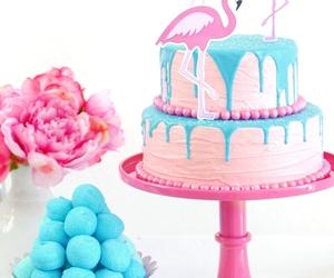 birthday, flamingos, and cake image