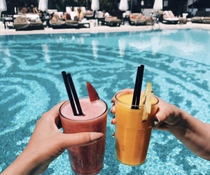drinks, summer friends, and pool image