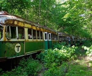 green, aesthetic, and train image