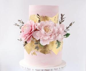 peonies, pink cake, and pink wedding cake image