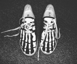 shoes, black, and bones image