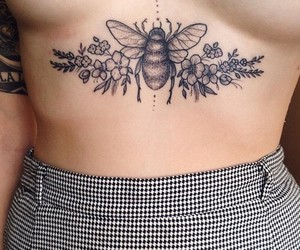 tattoo, flowers, and bee image
