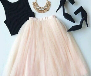 outfit, falda, and black&pink image