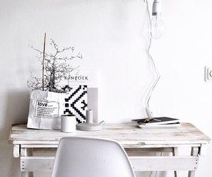interior, white, and desk image