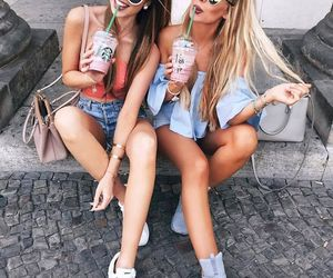 friends, starbucks, and friendship image