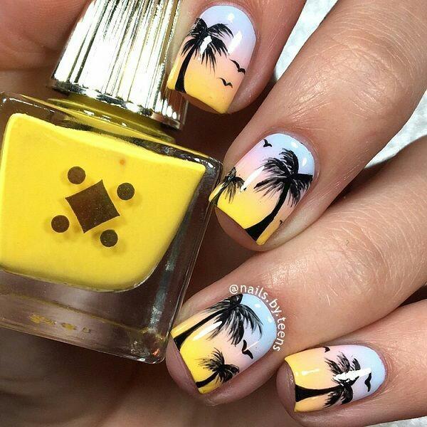 nails, summer, and yellow image