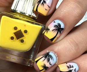 nails, summer, and yellow image