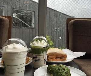 food, latte, and starbucks image