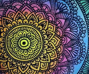 mandala, art, and rainbow image