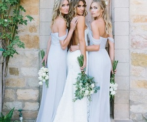 bouquet, white dress, and bridesmaids image