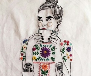 embroidery, fashion, and flowers image