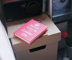 keep calm, book, and pink image