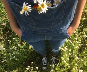 dungarees, girl, and grass image