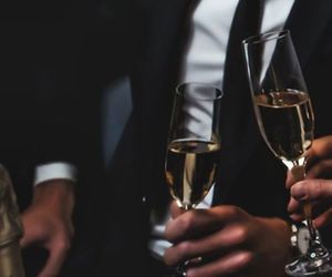 suit, champagne, and drink image