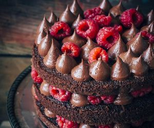 cake, chocolate, and raspberries image