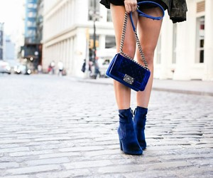 street style, bag, and blue image