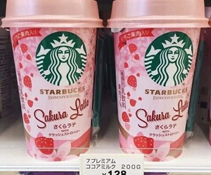 food, pink, and starbucks image