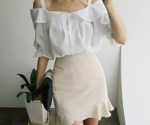 fashion, blouse, and skirt image