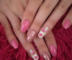 floral, manicure, and nails image