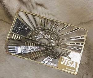 money, credit card, and gold image