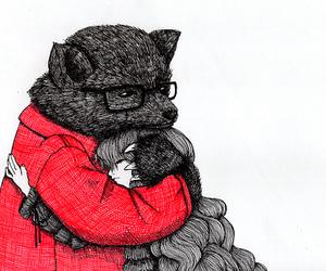 girl, bear, and drawing image