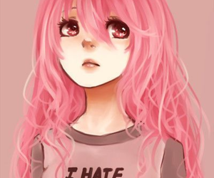 anime, girl, and pink image