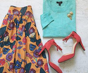 boho, heels, and brooch image