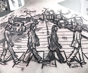 abbey road, black, and ink image