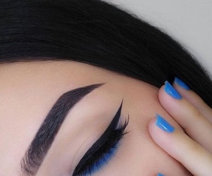 makeup, blue, and nails image