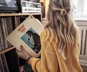girl, hair, and music image