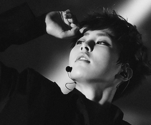 black and white, kim minseok, and exo image