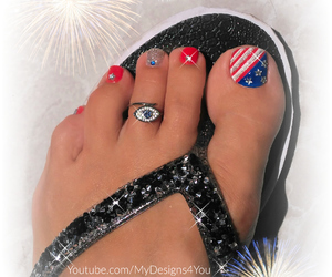 4th of july, pedicure, and independence day image