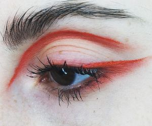 red, eyes, and makeup image