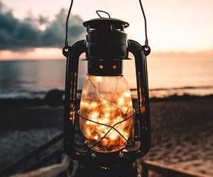 light, sunset, and sea image