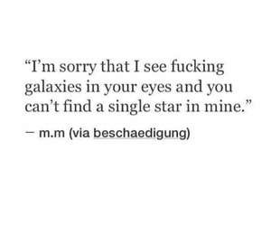 quote, galaxy, and stars image