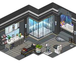 bathroom, gray, and plante image