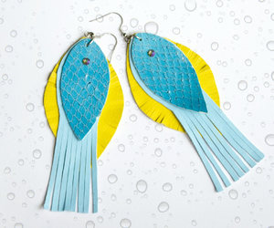 art jewelry, Recycled Leather, and tassel earrings image