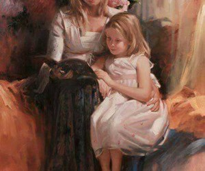 art, daughter, and mother image