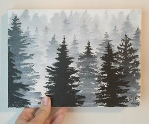 acrylic, art, and forest image