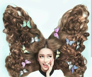 butterfly, coffe, and hair image