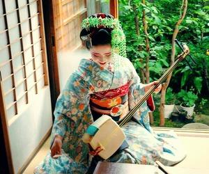 kimono, maiko, and shamisen image